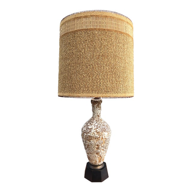 Ceramic Coral Table Lamp & Maria Kipp Shade For Sale