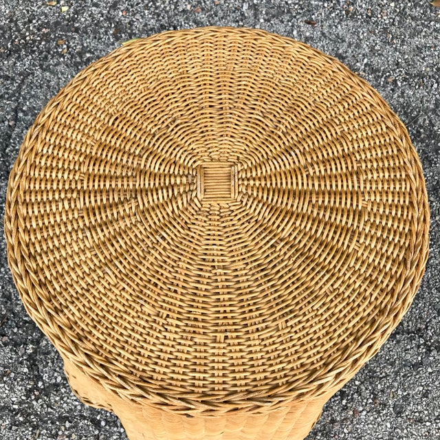 Boho Chic Trompe L'Oeil Mid Century Rattan Ghost Wicker Table For Sale - Image 3 of 8