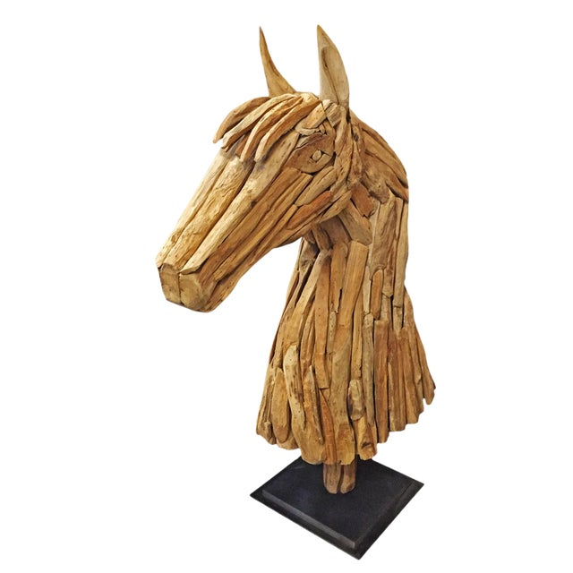 Salvaged Wood Horse Head Sculpture For Sale