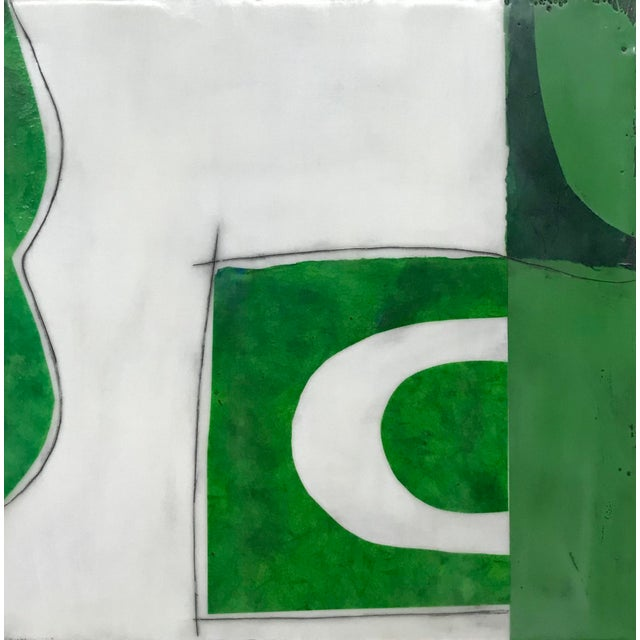 """Gina Cochran """"Perceptions No. 25"""" Encaustic Collage Painting - Emerald Green For Sale"""