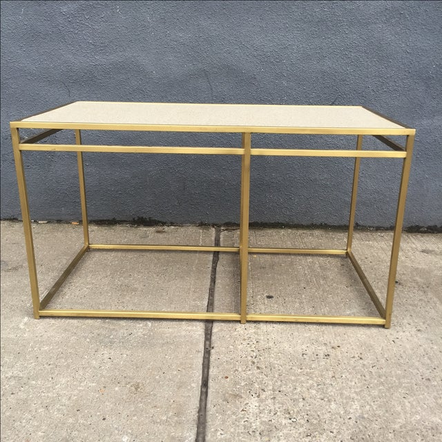For sale is a swanky Paul Laszlo custom brass and terrazzo oversized table. The table can be used as a console table or an...