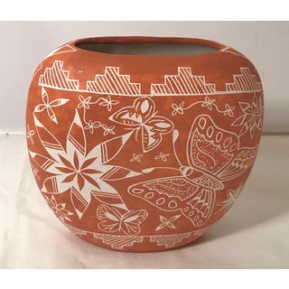 Native American Style New Mexico Terra Cotta Vase, Signed Preview