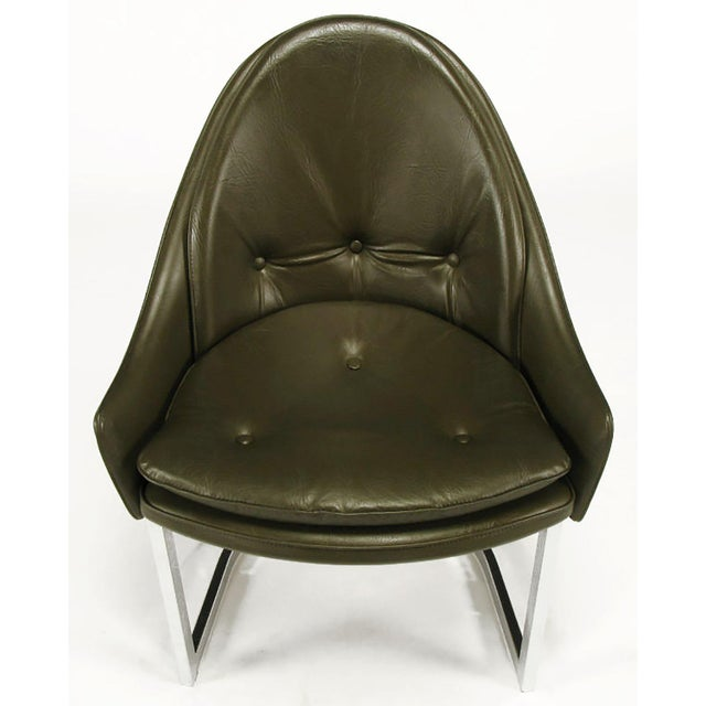 Bentwood Four Cantilevered Chrome and Chocolate Brown Spoonback Dining Chairs For Sale - Image 7 of 7