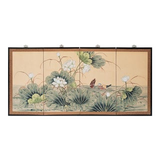 C.1920-1940s Painted Silk Chinese Screen For Sale