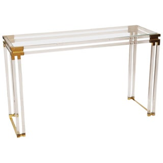 Charles Hollis Jones Style Lucite and Brass Console For Sale