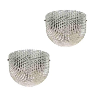 1950 Crystal Textured Murano Glass Sconces Attributed to Barovier Toso - a Pair For Sale