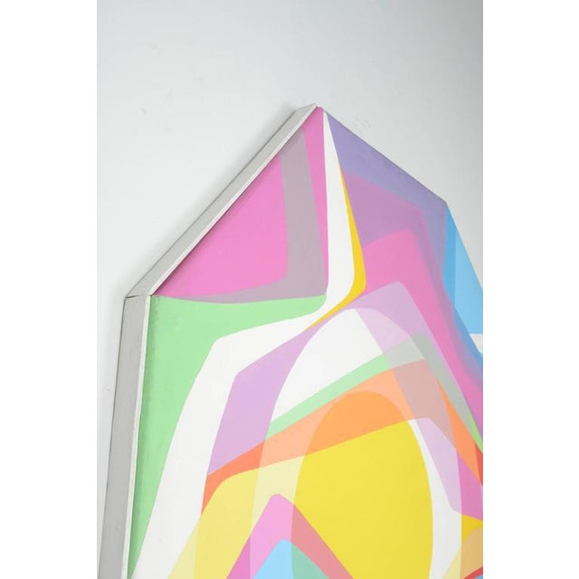 1970s Octagonal Abstract Oil on Canvas - Image 6 of 7