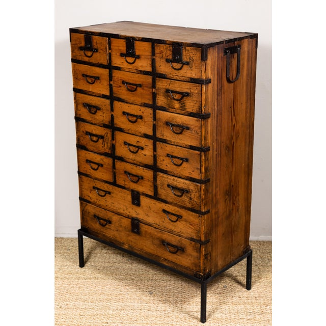 Metal Antique Japanese Tansu For Sale - Image 7 of 10