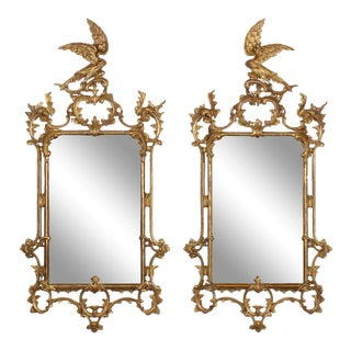 Rare Late 18th- Early 19th Century Carved Gilt Georgian Mirrors - A Pair For Sale