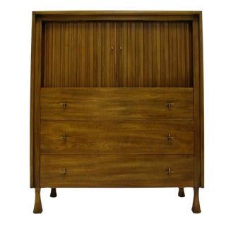 Excellent Tall Mahogany John Widdicomb Gentleman's Chest with Tambour Doors For Sale