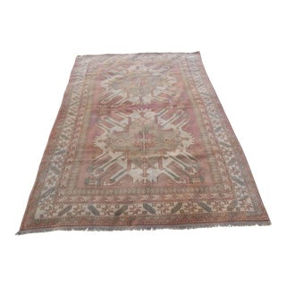 1930s Vintage Turkish Oushak Rug - 4′9″ × 6′8″ For Sale