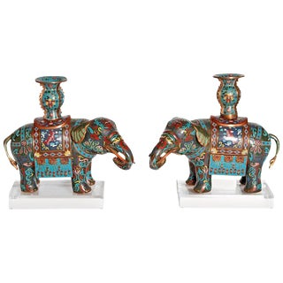 Pair of Chinese Cloisonne Elephants For Sale