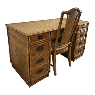 Vintage Dixie Campaign Faux Bamboo Rattan Desk and Chair For Sale