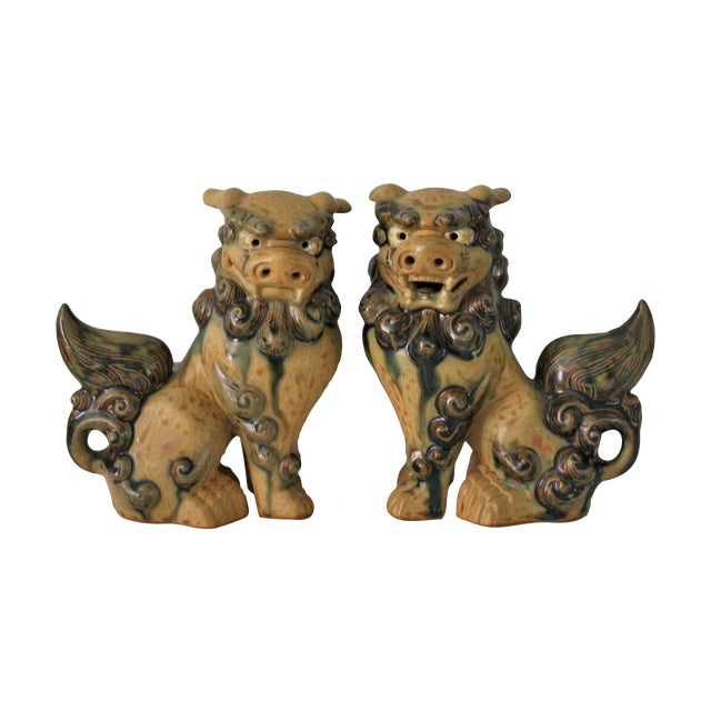 Vintage Terracotta Glazed Foo Dogs - Pair - Image 1 of 7