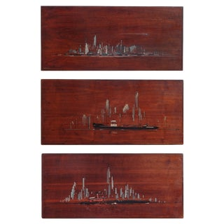 """Lower Manhattan"" Painted Panels - Set of 3 For Sale"