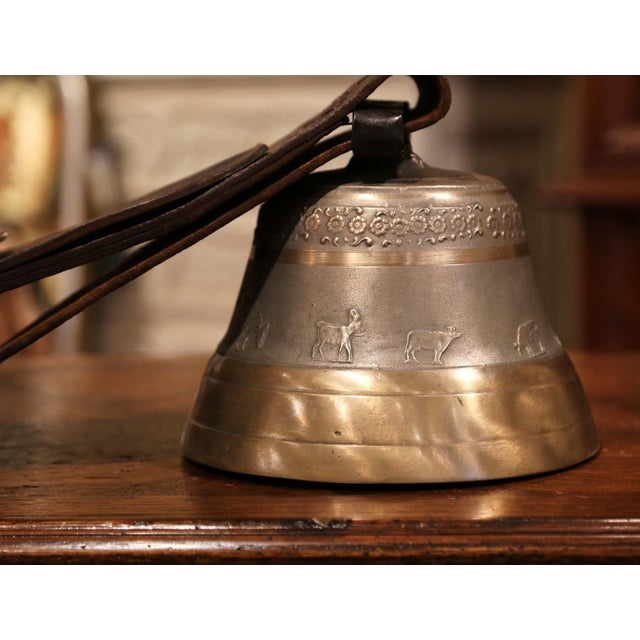 French Antique German Bronze Cow Bell For Sale - Image 3 of 13