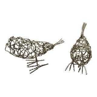 Wire Bird Figurines - A Pair