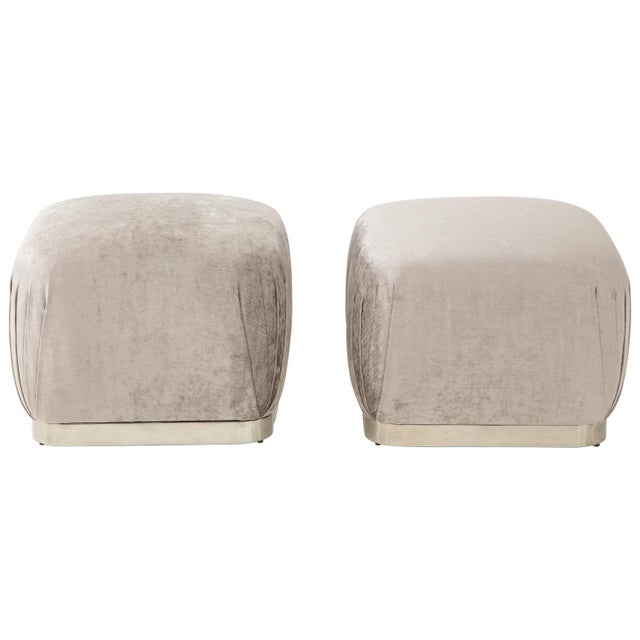 Souffle Ottomans or Poufs by Karl Springer - a Pair For Sale - Image 10 of 10