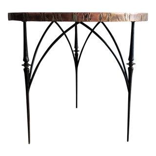 1980S Brutalist Sculptural Hammered Copper Top Table For Sale