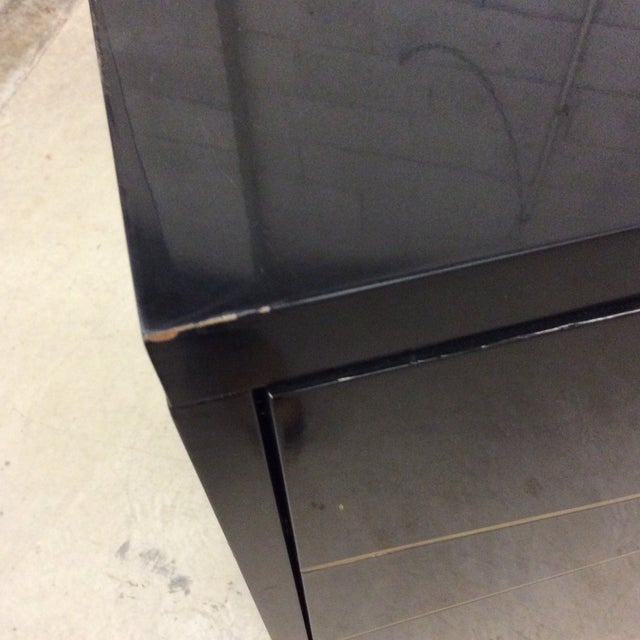Modern History Black Lacquer and Brass Abstract Credenza For Sale - Image 11 of 12