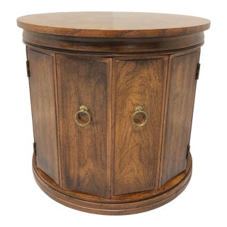 Weiman Mid 20th Century Banded Walnut Round Side Table Cabinet For Sale