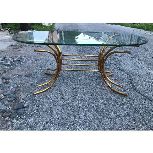 1960s Hollywood Regency Gilt Faux Bamboo Glass Top Coffee Table For Sale - Image 12 of 13