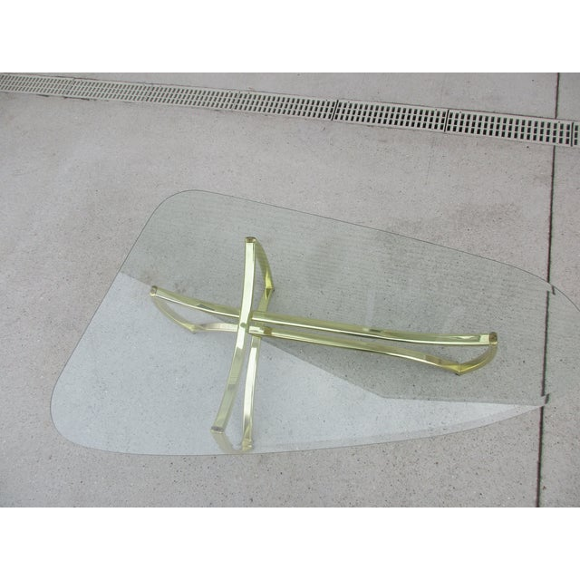 Gold Oblong Brass and Beveled Glass Coffee Table For Sale - Image 8 of 10