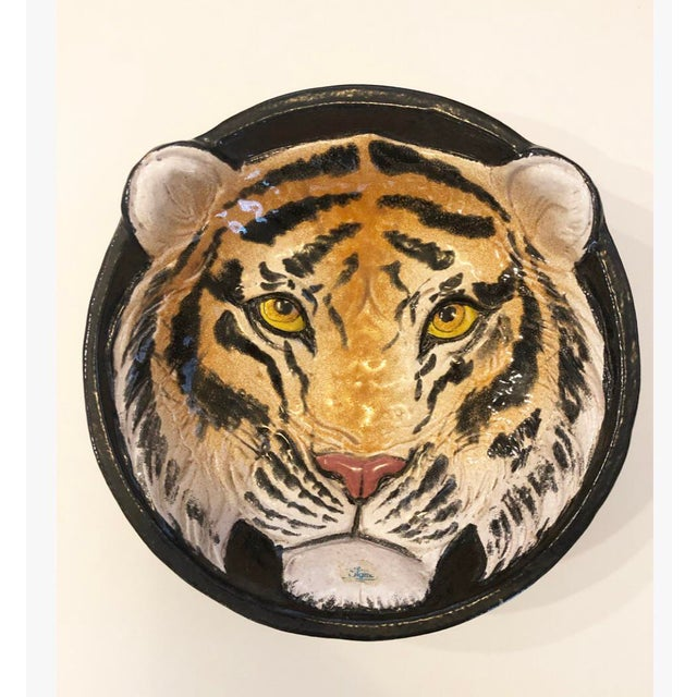 Ceramic Vintage Italian Ceramic Tiger Dish Bowl Wall Hanging Decor For Sale - Image 7 of 7