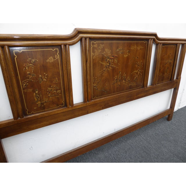 Vintage Drexel Heritage Mid-Century Modern Floral Chinoiserie King Headboard - Image 5 of 11
