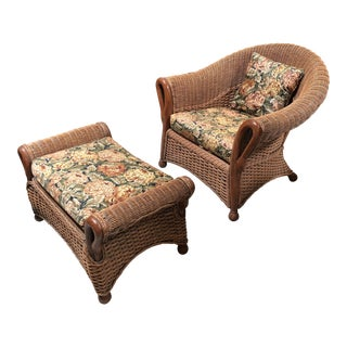 Traditional Tommy Bahama Wicker and Fabric Arm Chair and Ottoman - Set of 2