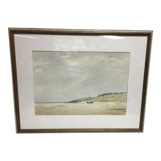 Sailboats & Seagulls Watercolor Painting