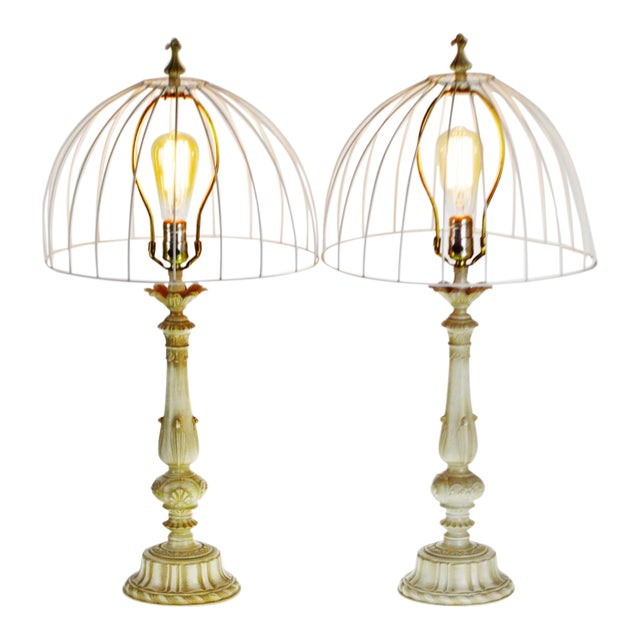 Vintage Metal Candlestick Table Lamps With Metal Cage lamp shades - a Pair For Sale