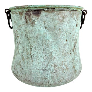 English Turquoise Verdigris Copper Cauldron, Fire Wood or Log Bucket, Pot or Planter For Sale