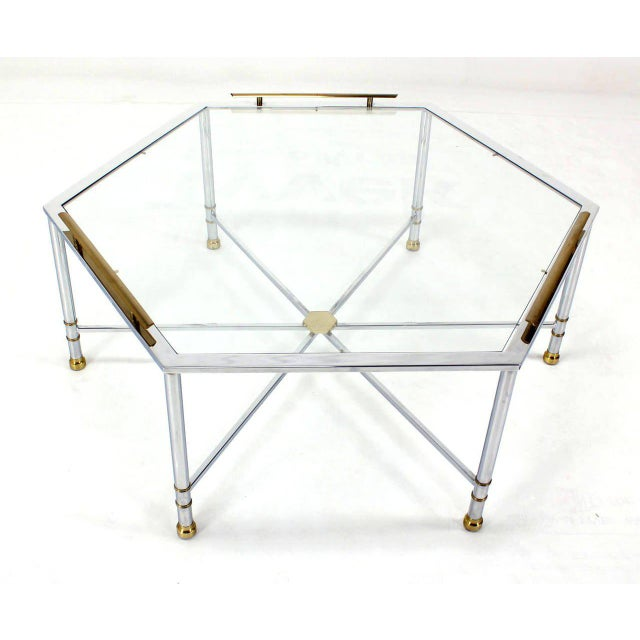 Gold Chrome Brass Glass Hexagon Coffee Table Maison Jansen For Sale - Image 8 of 8
