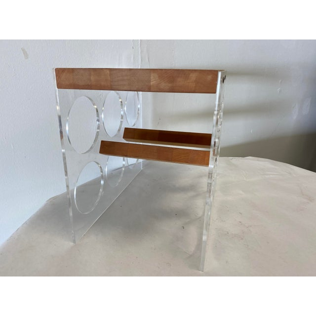 Early 21st Century Mid-Century Lucite and Butcher Block Wine Holder and Cheese Board For Sale - Image 5 of 8