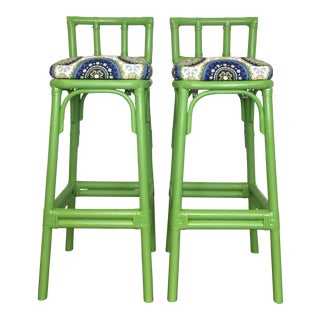 Boho Chic Lime Green Bamboo Bar Stools - a Pair For Sale