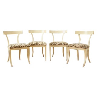 Set of Four Regency Style Lacquered Klismos Chairs For Sale