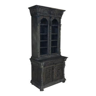 19th Century English Renaissance Weathered Oak Bookcase For Sale
