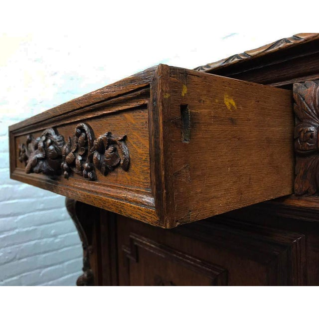 French Antique Hand Carved Oak Sideboard For Sale - Image 9 of 10