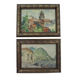 Vintage Lake Lugano Water Color Paintings- A Pair