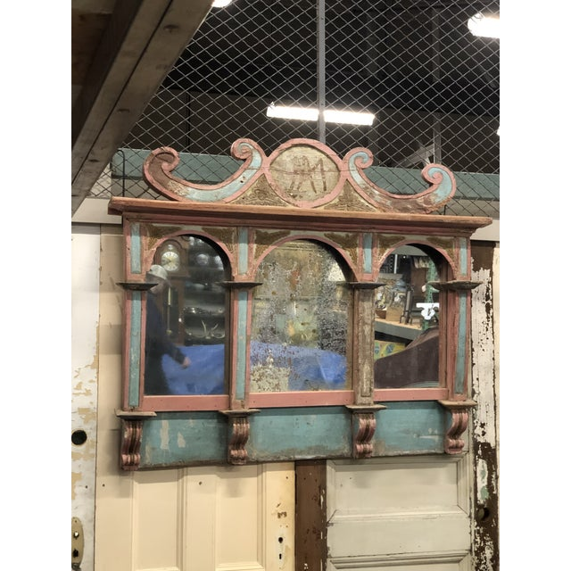 Blue Antique Carousel Panel Mirror For Sale - Image 8 of 8
