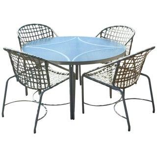 Mid Century Modern Brown Jordan Kantan Patio Dinette Set Table 4 Chairs 1960s For Sale
