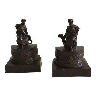 Pair of Cast Metal Book Ends For Sale