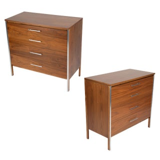 1960s Paul Cobb for Calvin Dressers in Walnut and Aluminum - a Pair For Sale