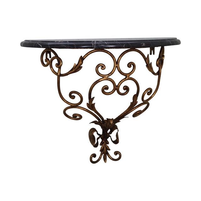 Italian Gilt Metal Marble Top Demilune Console - Image 1 of 10