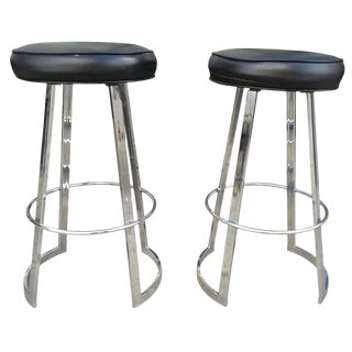"Charles Hollis Jones Pair of ""Mathis"" Barstools in Chrome and Naugahyde, Signed For Sale"
