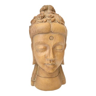 1970s Terracotta Buddha Face Sculpture For Sale