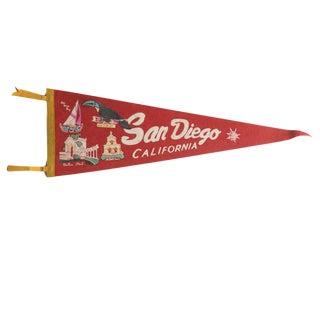 Vintage San Diego California Felt Flag Pennant For Sale