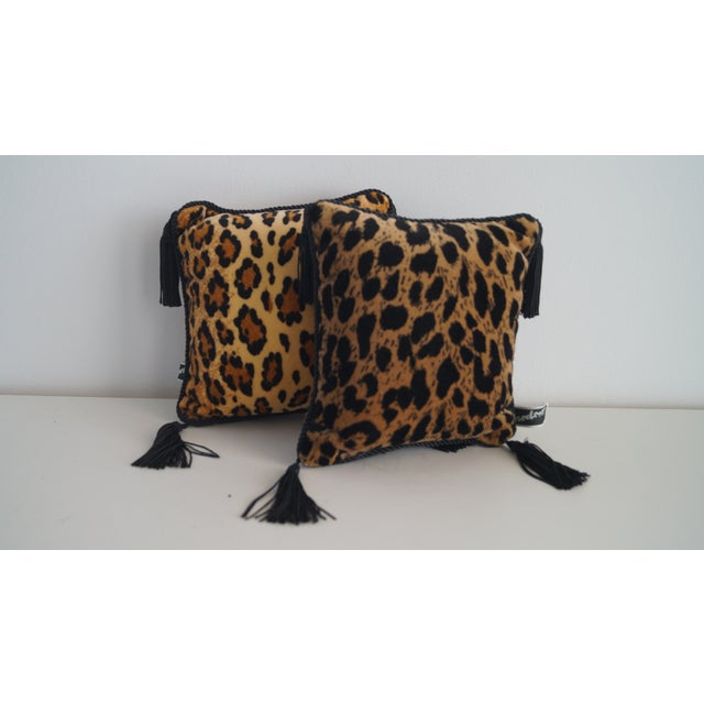 Boho Chic 1980s Vintage Mini Throw Pillows With Leopard and Cheetah Prints - a Pair For Sale - Image 3 of 5