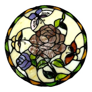 Antique Round Stained Glass Lead Window of a Rose For Sale
